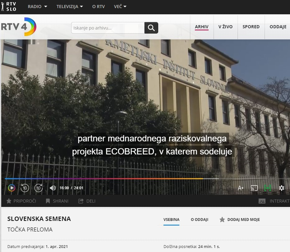 ECOBREED on the Slovene national TV